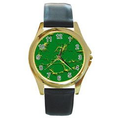 Thorny Abstract,green Round Gold Metal Watch