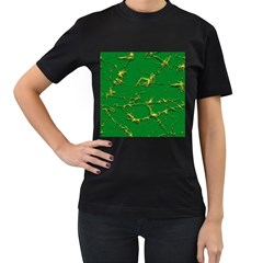 Thorny Abstract,green Women s T-Shirt (Black) (Two Sided)