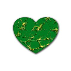 Thorny Abstract,green Rubber Coaster (Heart)