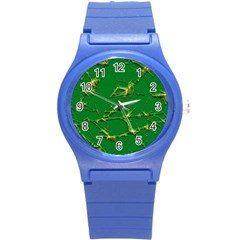 Thorny Abstract,green Round Plastic Sport Watch (S)