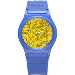 Thorny Abstract,golden Round Plastic Sport Watch (S)