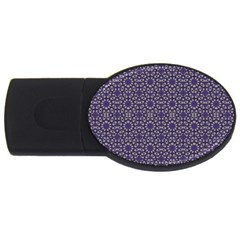 Stylized Floral Check USB Flash Drive Oval (2 GB)