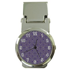 Stylized Floral Check Money Clip Watches