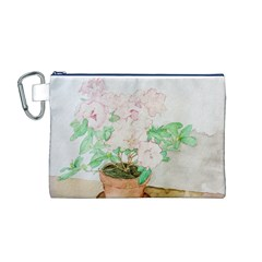 Watercolour Azalea Canvas Cosmetic Bag (M)