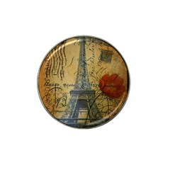 Vintage Stamps Postage Poppy Flower Floral Eiffel Tower Vintage Paris Golf Ball Marker (for Hat Clip)
