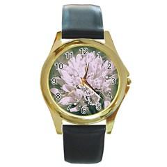 White Flower Round Gold Metal Watch