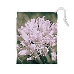 White Flower Drawstring Pouches (Large)
