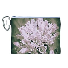 White Flower Canvas Cosmetic Bag (L)
