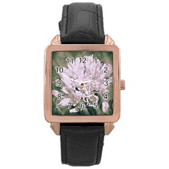 White Flower Rose Gold Leather Watch