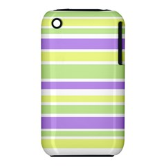 Yellow Purple Green Stripes Apple iPhone 3G/3GS Hardshell Case (PC+Silicone)