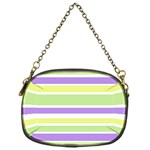 Yellow Purple Green Stripes Chain Purses (One Side)  Front