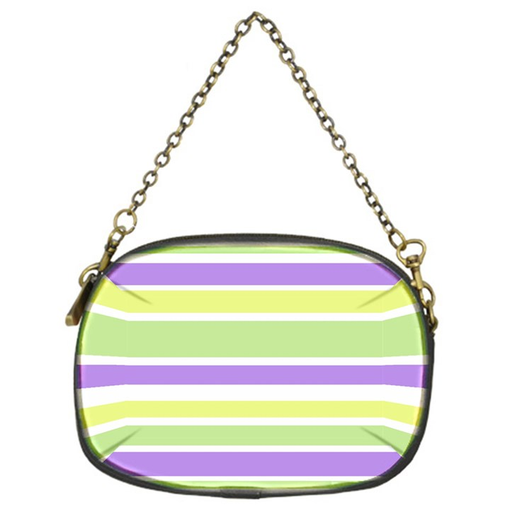 Yellow Purple Green Stripes Chain Purses (One Side)
