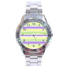Yellow Purple Green Stripes Stainless Steel Analogue Watch