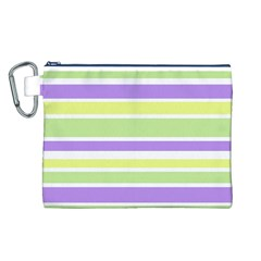 Yellow Purple Green Stripes Canvas Cosmetic Bag (L)