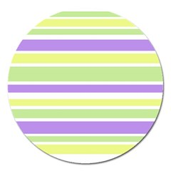 Yellow Purple Green Stripes Magnet 5  (Round)
