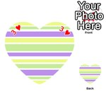 Yellow Purple Green Stripes Playing Cards 54 (Heart)  Front - Heart3
