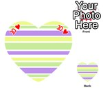 Yellow Purple Green Stripes Playing Cards 54 (Heart)  Front - Heart10
