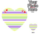 Yellow Purple Green Stripes Playing Cards 54 (Heart)  Front - HeartQ