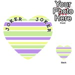 Yellow Purple Green Stripes Playing Cards 54 (Heart)  Front - Joker1