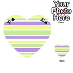 Yellow Purple Green Stripes Playing Cards 54 (Heart)  Front - Spade10