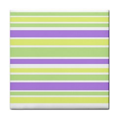 Yellow Purple Green Stripes Face Towel