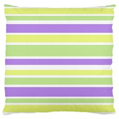 Yellow Purple Green Stripes Large Cushion Case (One Side)