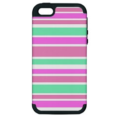 Pink Green Stripes Apple iPhone 5 Hardshell Case (PC+Silicone)