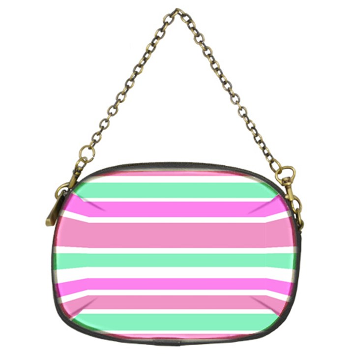 Pink Green Stripes Chain Purses (Two Sides)