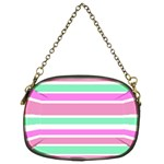 Pink Green Stripes Chain Purses (Two Sides)  Back