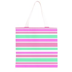 Pink Green Stripes Grocery Light Tote Bag
