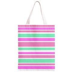 Pink Green Stripes Classic Light Tote Bag
