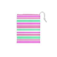 Pink Green Stripes Drawstring Pouches (xs)