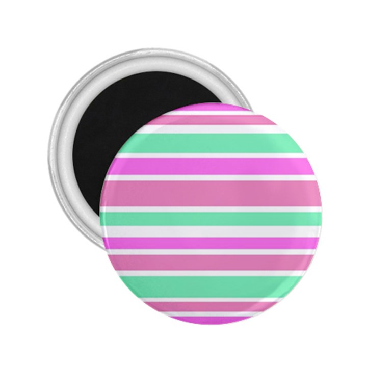Pink Green Stripes 2.25  Magnets