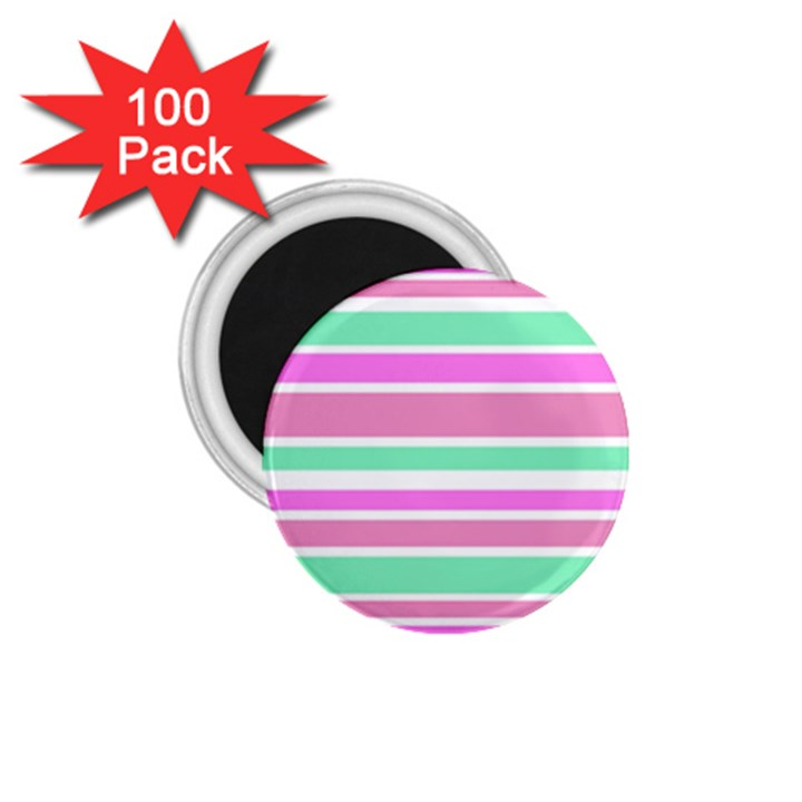 Pink Green Stripes 1.75  Magnets (100 pack)