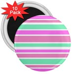 Pink Green Stripes 3  Magnets (10 pack)  Front