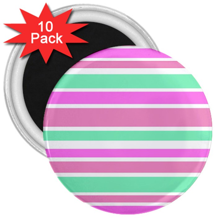 Pink Green Stripes 3  Magnets (10 pack)