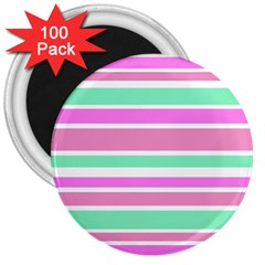 Pink Green Stripes 3  Magnets (100 Pack)