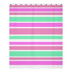 Pink Green Stripes Shower Curtain 60  x 72  (Medium)
