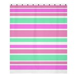 Pink Green Stripes Shower Curtain 60  x 72  (Medium)  54.25 x65.71 Curtain