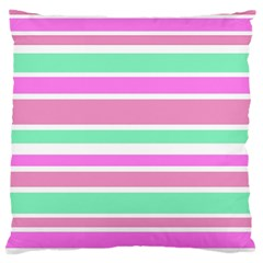 Pink Green Stripes Large Cushion Case (Two Sides)