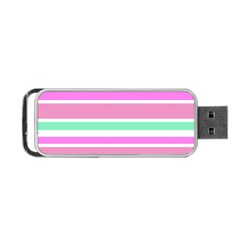 Pink Green Stripes Portable Usb Flash (one Side)
