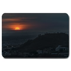Sunset Scene Landscape Aerial View In Guayaquil From Cerro Del Carmen Large Doormat