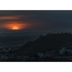 Sunset Scene Landscape Aerial View In Guayaquil From Cerro Del Carmen Birthday Cake 3D Greeting Card (7x5)