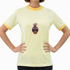 Funny Fruit Face Head Character Women s Fitted Ringer T-Shirts