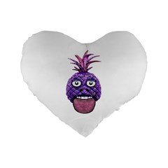 Funny Fruit Face Head Character Standard 16  Premium Flano Heart Shape Cushions