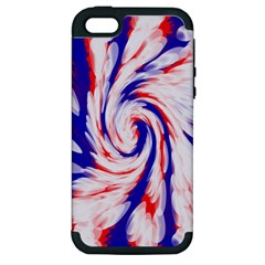 Groovy Red White Blue Swirl Apple iPhone 5 Hardshell Case (PC+Silicone)