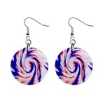 Groovy Red White Blue Swirl Mini Button Earrings Front