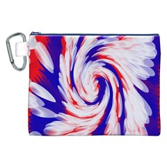 Groovy Red White Blue Swirl Canvas Cosmetic Bag (XXL)