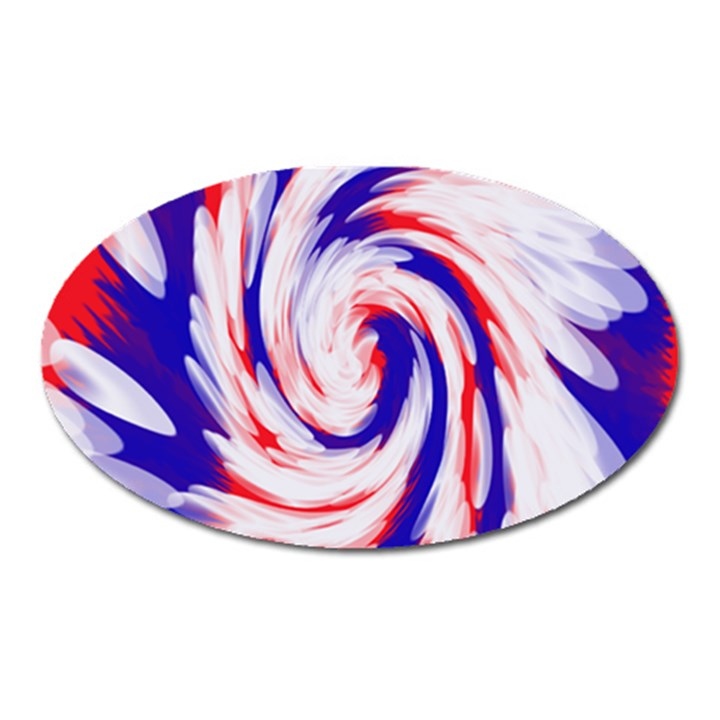 Groovy Red White Blue Swirl Oval Magnet