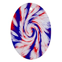Groovy Red White Blue Swirl Oval Ornament (Two Sides)
